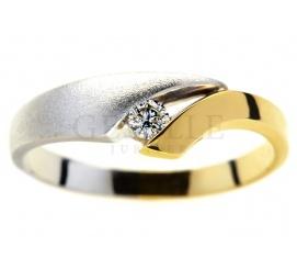 Pierścionek zaręczynowy z żółtego i białego złota 14K z brylantem o masie 0,07 ct
