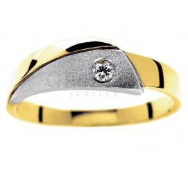 Oryginalny pierścionek z białego i żółtego złota pr. 585 z brylantem o masie 0.05 ct