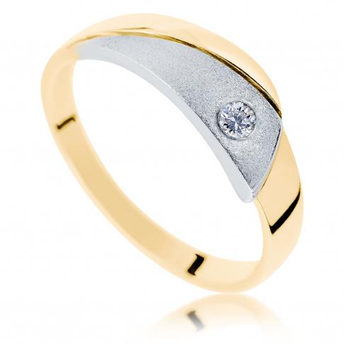 Oryginalny pierścionek z białego i żółtego złota z brylantem o masie 0.05 ct