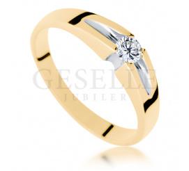 Wyjątkowy pierścionek z żółtego złota z brylantem o masie 0.15ct - niebanalne zaręczyny