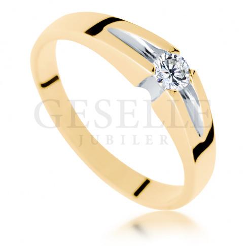 Wyjątkowy pierścionek z żółtego złota z brylantem o masie 0.13 ct - niebanalne zaręczyny