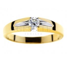 Wyjątkowy pierścionek z żółtego złota pr. 585 z brylantem o masie 0.13 ct - niebanalne zaręczyny z GESELLE Jubiler