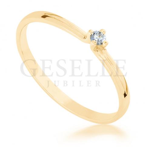 Subtelny pierścionek z żółtego złota z brylantem 0.05 ct - idealny na romantyczne oświadczyny