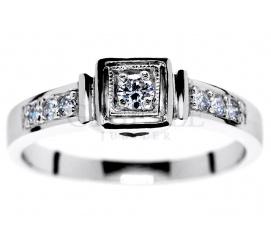 Retro pierścionek z białego złota z brylantami 0.14 ct - serduszko