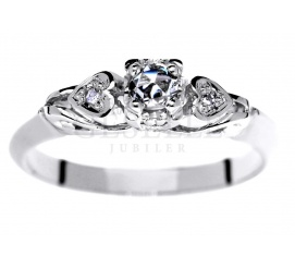 Retro pierścionek z białego złota z brylantami 0.12 ct
