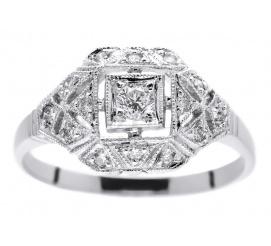 Bogaty pierścionek z białego złota z brylantami 0.25 ct
