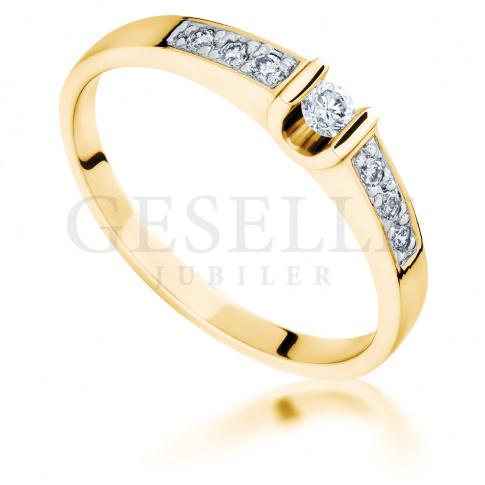 Niezwykły, luksusowy pierścionek z żółtego złota z brylantami o masie 0.17 ct - przepych i elegancja