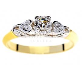 Romantyczny pierścionek z żółtego złota w stylu retro z diamentami 0,12 ct