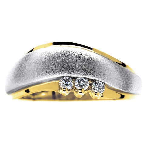Fantazyjny pierścionek z białego i żółtego złota z trzema brylantami o masie 0.09 ct SI/H pr. 585