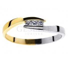 Delikatny pierścionek zaręczynowy z dwukolorowego złota z brylantami 0.06 ct