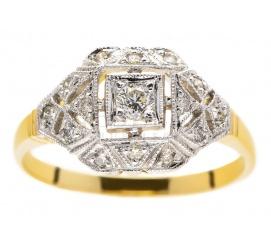 Luksusowy pierścionek w stylu retro z żółtego i białego złota 14K z brylantami 0,25 ct