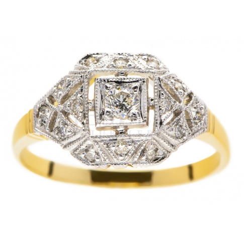 Luksusowy pierścionek w stylu retro z żółtego i białego złota z brylantami 0.25 ct
