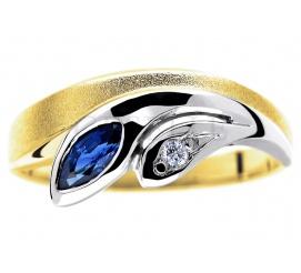 Oryginalny, dwukolorowy pierścionek ze złota ozdobiony szafirem i brylantem 0.02 ct