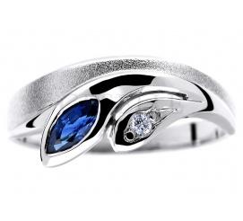 Wyjątkowy pierścionek z białego złota z szafirem naturalnym i pełnym blasku brylantem 0.02 ct