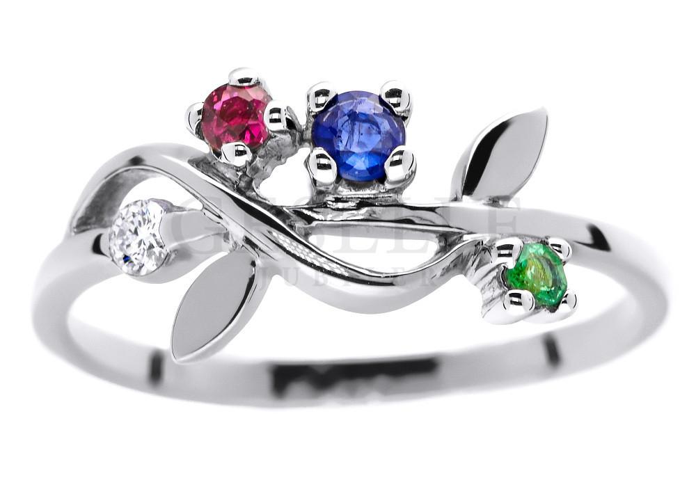 3eeaa8a168b586 ... Nietuzinkowy pierścionek zaręczynowy z białego złota ze szmaragdem,  rubinem, szafirem i brylantem 0.02 ct. Podziel się: