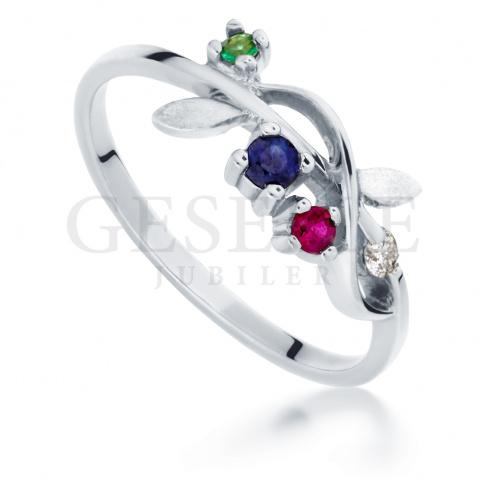 892f5ec5db4ae9 Nietuzinkowy pierścionek zaręczynowy z białego złota ze szmaragdem,  rubinem, szafirem i brylantem 0.02 ct - Pierścionki zaręczynowe - GESELLE  Jubiler