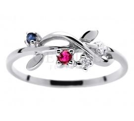 Oryginalny pierścionek zaręczynowy z białego złota próby 585 wysadzany brylantami 0.05 ct, rubinem i szafirem