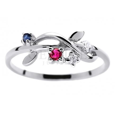 Oryginalny pierścionek zaręczynowy z białego złota wysadzany brylantami 0.05 ct, rubinem i szafirem