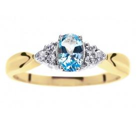 Przepiękny pierścionek zaręczynowy z naturalnym topazem błękitnym i brylantami 0.09 ct
