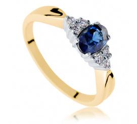 Hit! Modny, złoty pierścionek zaręczynowy z szafirem naturalnym i brylantami o masie 0.09 ct