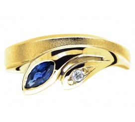 Niepowtarzalny, złoty pierścionek z szafirem i brylantem 0.02 ct