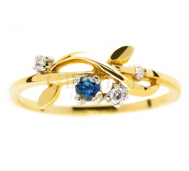 Kobiecy pierścionek zaręczynowy z szafirem i trzema brylantami - kwiatowy wzór dla ukochanej
