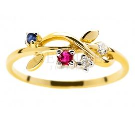 Wyjątkowy pierścionek zaręczynowy z żółtego złota pr. 585 z szafirem, rubinem i brylantami 0.06 ct