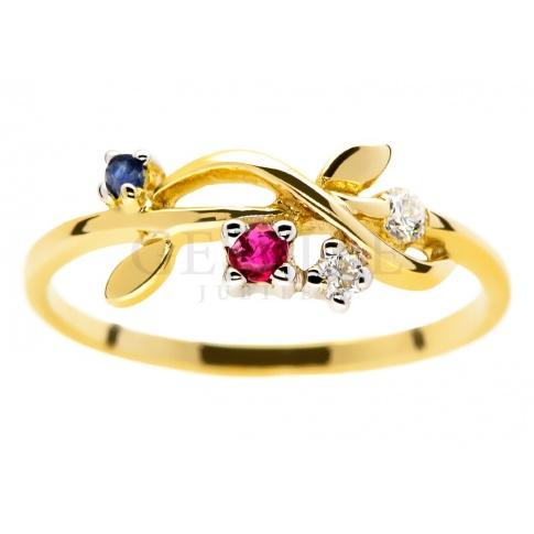 Wyjątkowy pierścionek zaręczynowy z żółtego złota z szafirem, rubinem i brylantami 0.06 ct
