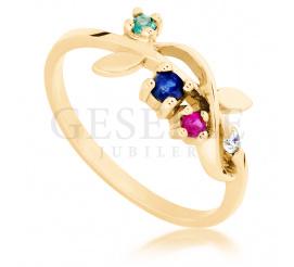 Oryginalny, złoty pierścionek zaręczynowy z żółtego złota ze szmaragdem, rubinem, szafirem i brylantem
