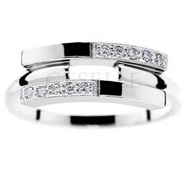 Niezwykły pierścionek w nowoczesnym stylu - duet białego złota i brylantów 0.09 ct