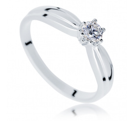 Elegancki pierścionek zaręczynowy z białego kruszcu z brylantem 0,20 ct w klasycznym stylu