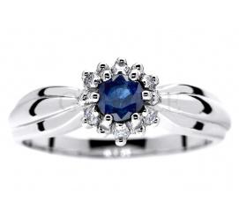 W stylu księżnej Kate - wyjątkowy pierścionek z białego złota z szafirem i brylantami 0.06 ct