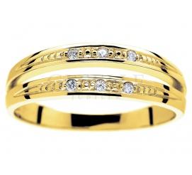 Niespotykany, podwójny złoty pierścionek zaręczynowy z 6 brylantami o masie 0.05 ct
