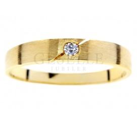 Żółte złoto pr. 585 i brylant o masie 0.03 ct: nowoczesny pierścionek z kolekcji GESELLE Jubiler idealny na zaręczyny