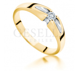 Wyjątkowy pierścionek zaręczynowy z żółtego złota z przepięknym brylantem o masie 0,08 ct