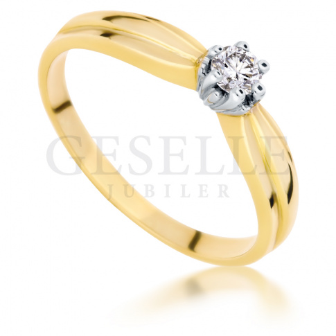 Złoty pierścionek zaręczynowy w stylu Tiffany z wiecznym brylantem 0.15 ct