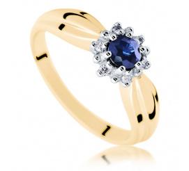 Wyjątkowy, elegancki pierścionek z szafirem naturalnym i pełnymi blasku brylantami 0.06 ct