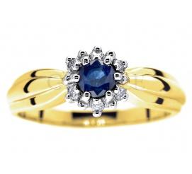 Wyjątkowy, elegancki pierścionek z szafirem naturalnym i pełnymi blasku brylantami
