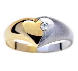 Romantyczny pierścionek z żółtego i białego złota - serce z brylantem 0.03 ct SI/H pr. 585
