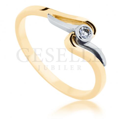 Subtelny i romantyczny pierścionek z białego i żółtego złota z brylantem 0.05 ct