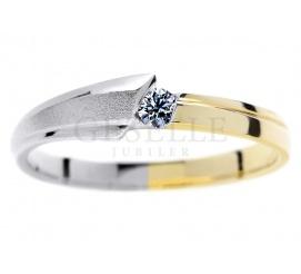Dwukolorowe złoto 14K - pierścionek zaręczynowy z brylantem 0,07 karata