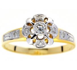 Efektowny pierścionek w stylu retro z -żółtego złota z brylantami 0.10 ct