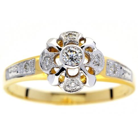 Efektowny pierścionek w stylu retro z żółtego złota z brylantami 0.10 ct