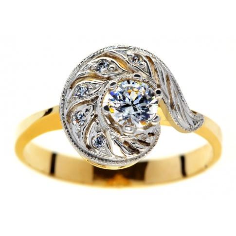 Okazały pierścionek w stylu retro z żółtego złota z brylantami 0.35 ct idealny na oświadczyny