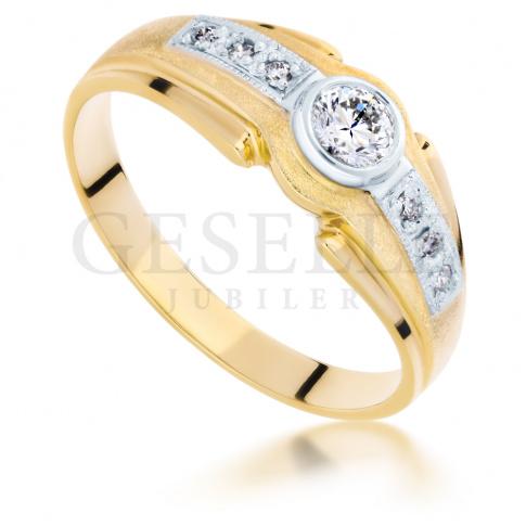 Bogaty pierścionek z dwukolorowego złota z brylantami 0.25 ct SI/H pr. 585