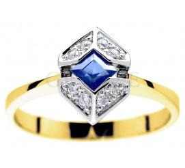 Zachwycający złoty pierścionek zaręczynowy z szafirem i brylantami 0.08 ct
