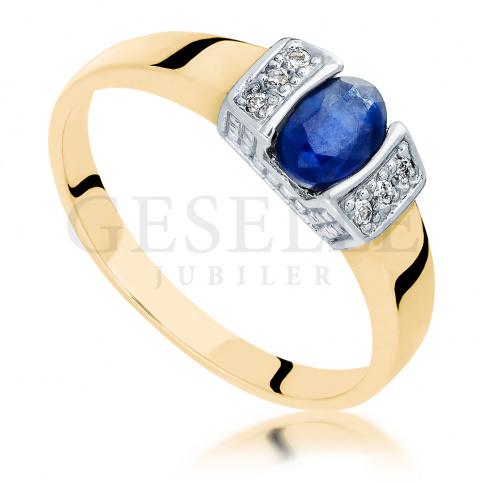 W stylu retro - elegancki pierścionek z żółtego złota z szafirem i sześcioma brylantami 0.06 ct