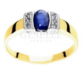 W stylu retro - elegancki pierścionek z żółtego złota pr. 585 z szafirem i sześcioma brylantami 0.06 ct