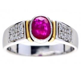 Elegancki pierścionek z białego i żółtego złota z rubinem i brylantami