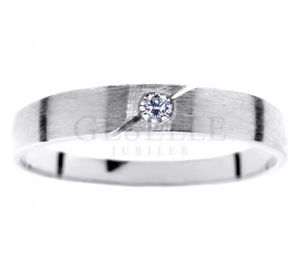 Prosty i delikatny pierścionek z białego złota 14K z brylantem 0.03 ct